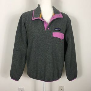 Patagonia Grey/Pink Synchilla Snap Button Pullover
